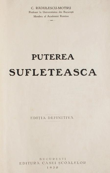 Puterea sufleteasca (editia princeps, 1930)