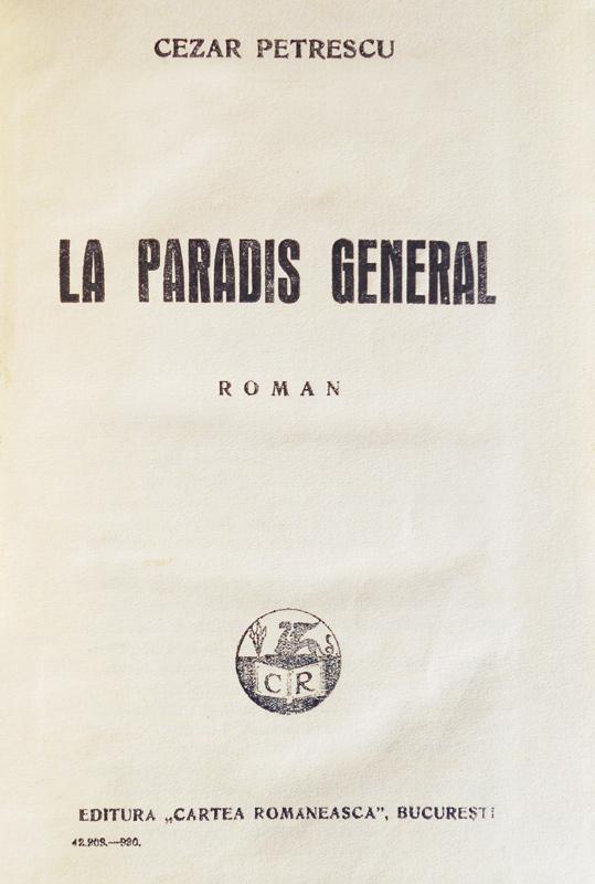 La Paradis General (editia princeps, 1930)