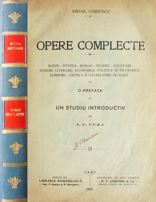 Opere complecte (editia princeps A.C. Cuza, 1914)
