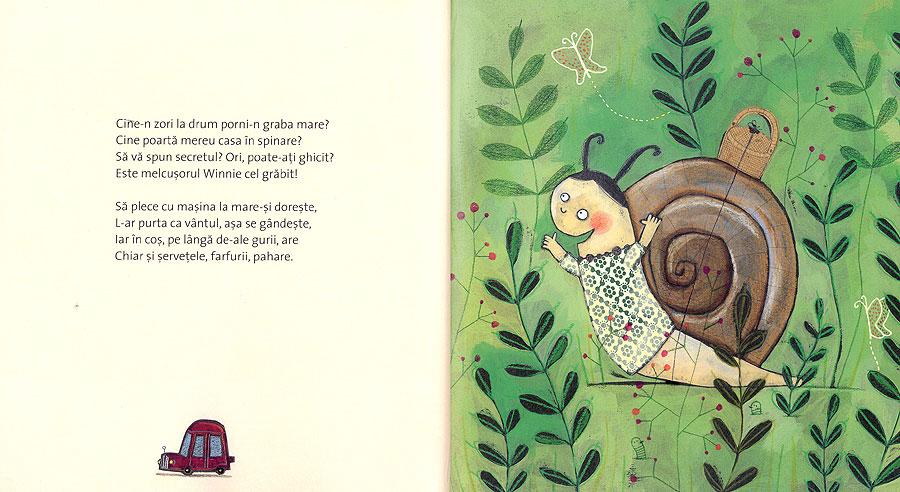 Ilustraţii carte pentru copii 'Winnie, melcuşorul cel grăbit'